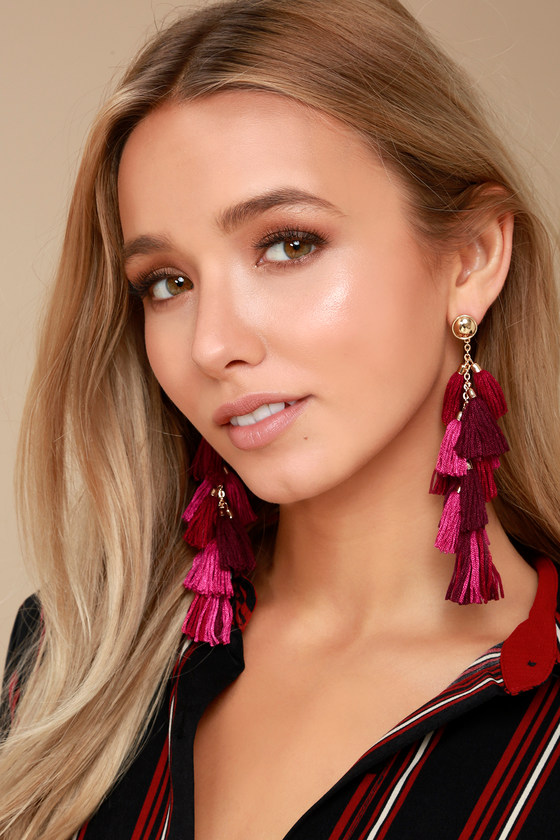 Time to Tassel Gold and Burgundy Tassel Earrings 1