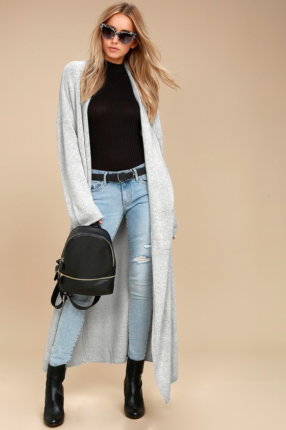 Cozy Heather Grey Sweater - Long Cardigan Sweater