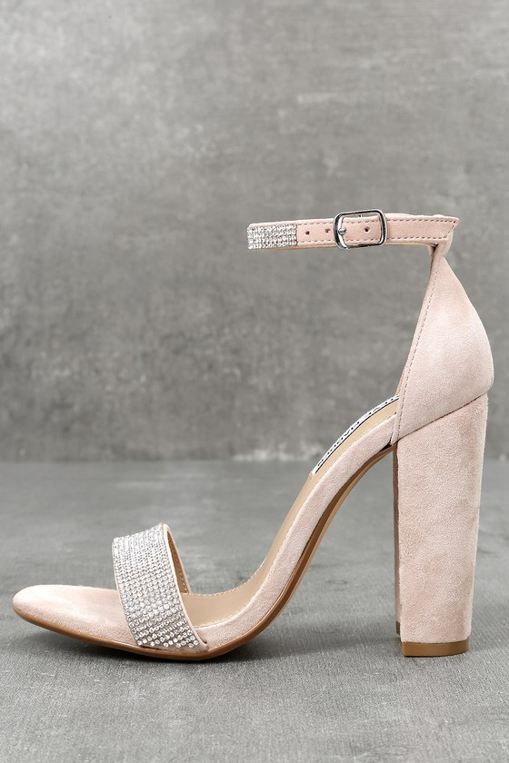 Carrson-R Rhinestone Nude Suede Leather Ankle Strap Heels 1