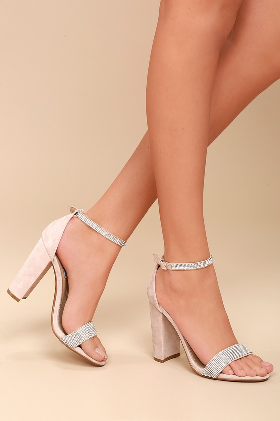 aac42279023 Carrson-R Rhinestone Nude Suede Leather Ankle Strap Heels