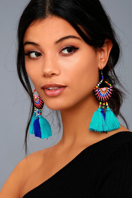 3c22ce0a1 Boho Turquoise Earrings - Tassel Earrings - Beaded Earrings
