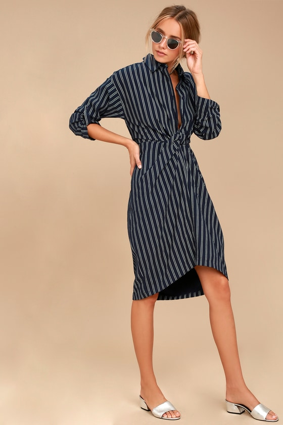 Fable Navy Blue Striped Long Sleeve Midi Dress 3