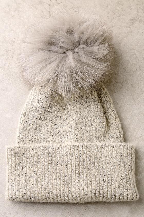 Cute Beige Pompom Beanie - Fur Pompom Beanie - Knit Beanie dea3bd24982