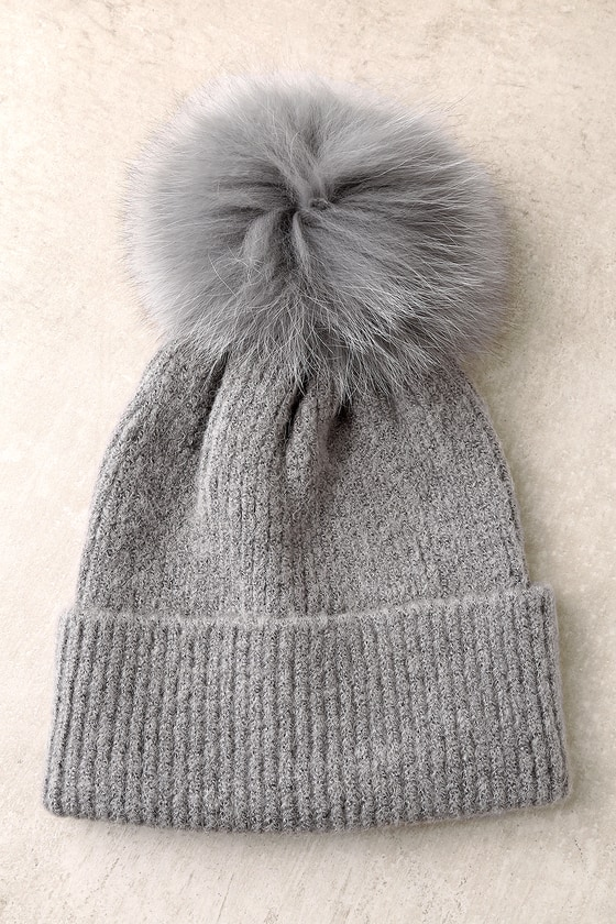 Cute Grey Pom Pom Beanie - Fur Pom Pom Beanie - Knit Beanie b738db85915
