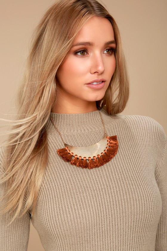 Moon Wishes Rust Red and Gold Collar Necklace 1