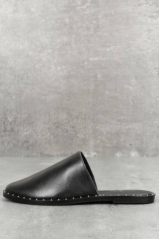 Brea Black Leather Studded Mules 1