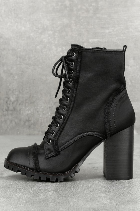 Aileen Black Lace-Up Platform Booties 1