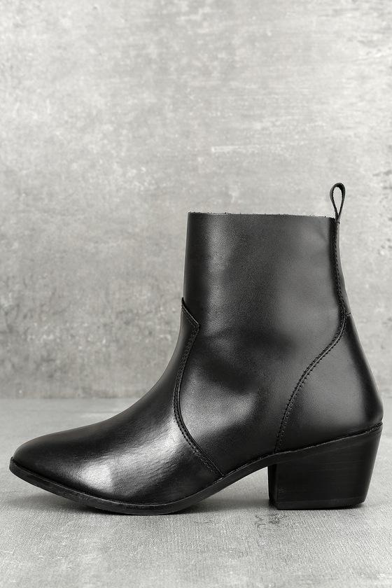 Iesha Black Leather Mid-Calf Boots 1