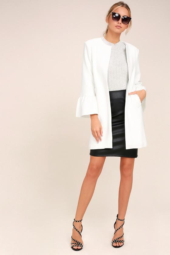 90687ed2c883 Chic White Coat - Knit Coat - Flounce Sleeve Coat