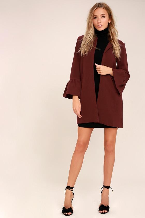 dc422d4b16fb Chic Burgundy Coat - Knit Coat - Flounce Sleeve Coat