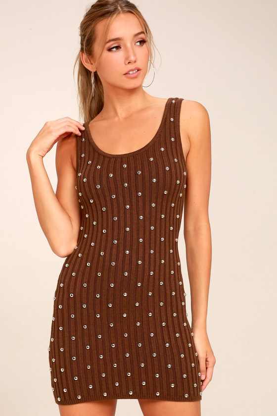 Willow Brown Studded Sleeveless Sweater Dress