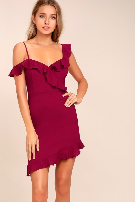 Myth Maker Berry Red Off-the-Shoulder Bodycon Dress 3