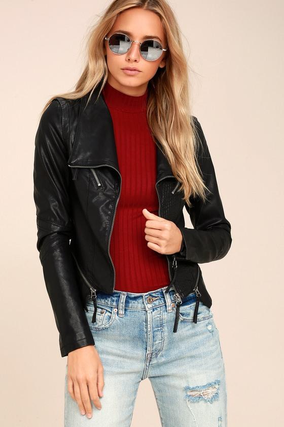 Up on a Tuesday Black Vegan Leather Jacket 7