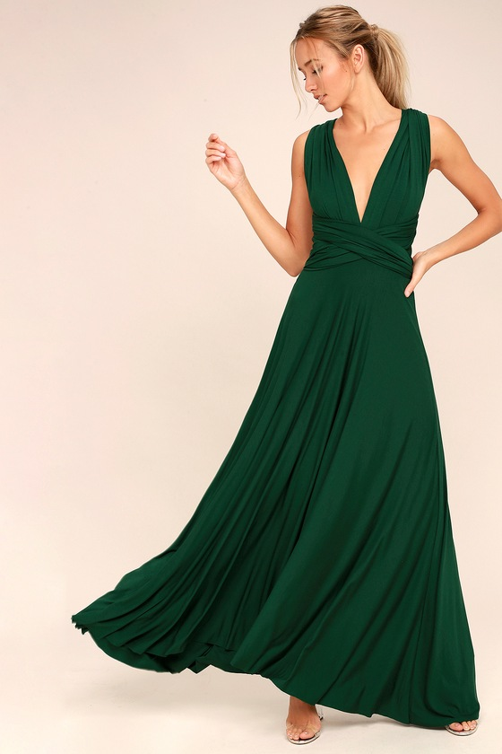 98db66a13ba2 Awesome Forest Green Dress - Maxi Dress - Wrap Dress