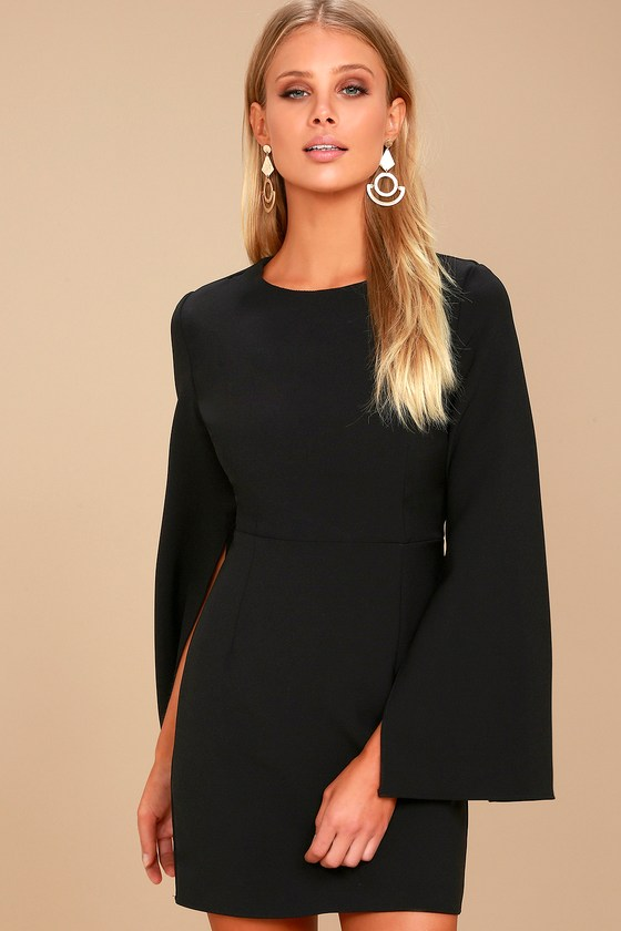 Hepburn Black Bell Sleeve Dress 2