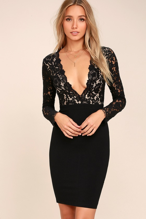 Swoon-er or Later Black Long Sleeve Lace Dress 7