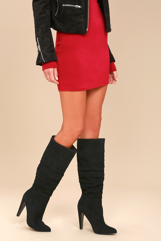 52d4104e736 Steve Madden Carrie - Black Slouchy Boots - Knee High Boots