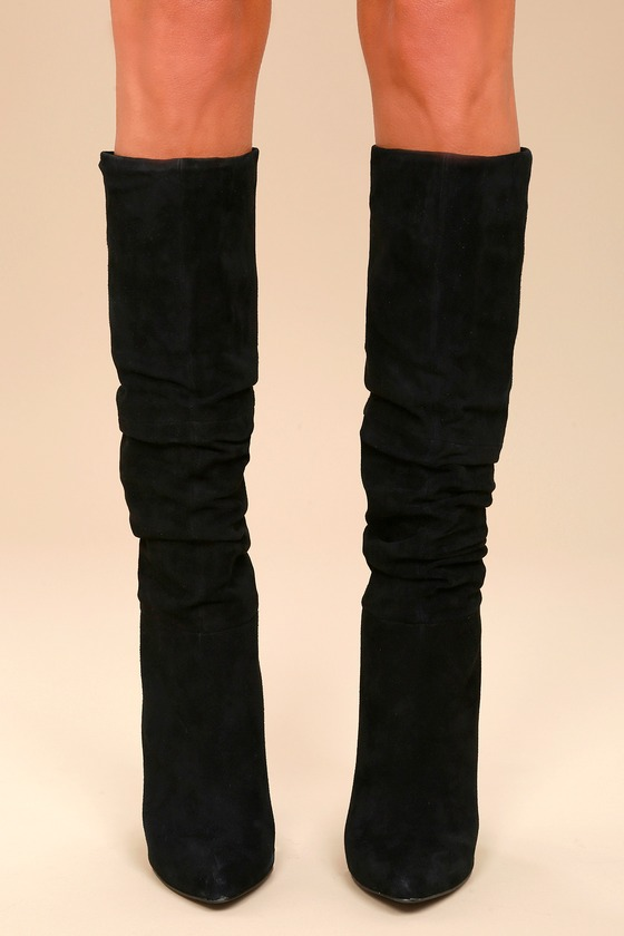 6d1e0e76bf2 Steve Madden Carrie - Black Slouchy Boots - Knee High Boots