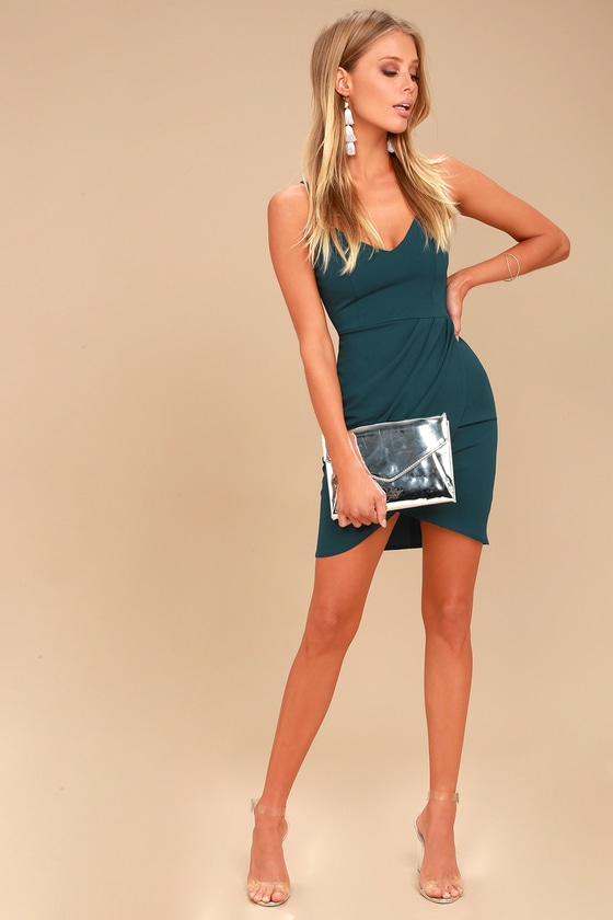 086fd479592b Sexy Teal Blue Dress - Bodycon Dress - Wrap Dress