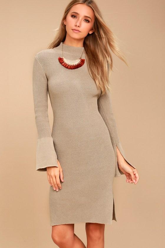 a0b243c8097 EVIDNT Sweater Dress - Flounce Sleeve Dress - Midi Dress