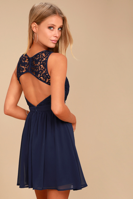 e0b01d5e1401 Lovely Navy Blue Dress - Lace Dress - Lace Skater Dress