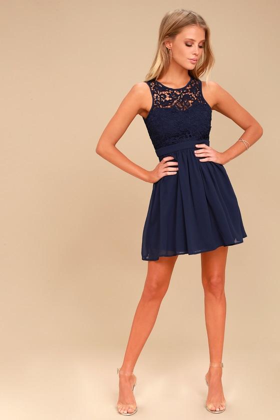 Lovely Navy Blue Dress Lace Dress Lace Skater Dress