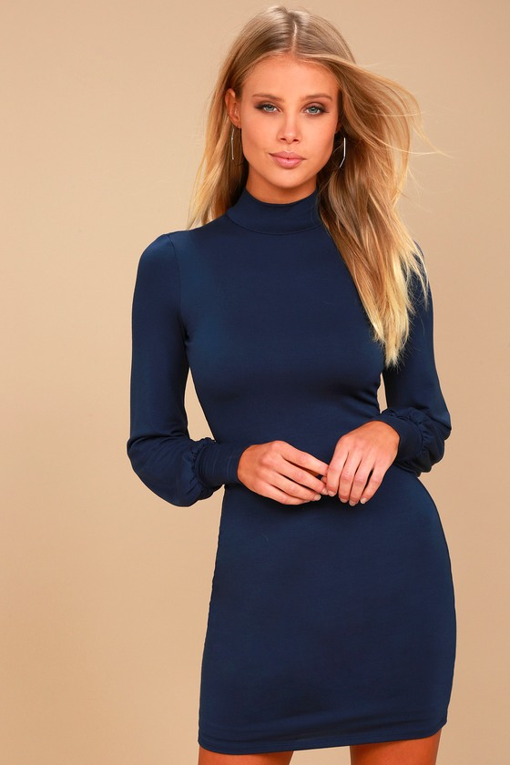 Midnight in Paris Navy Blue Long Sleeve Dress 1