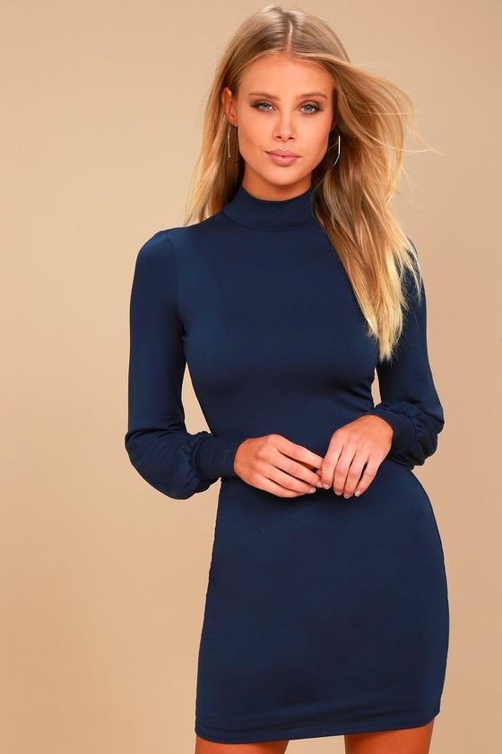 3e5cd5cda0 Stylish Navy Blue Dress - Mock Neck Dress - Bodycon Dress