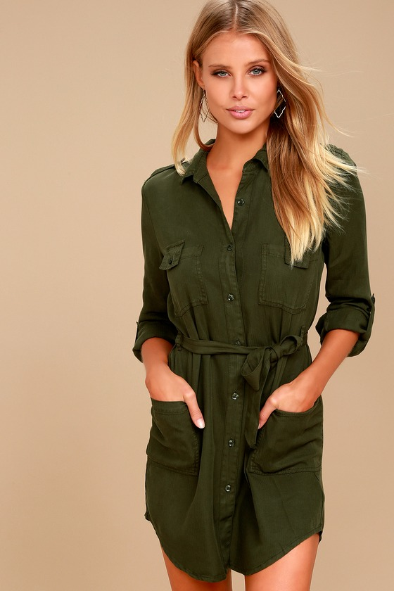 Remy Forest Green Long Sleeve Shirt Dress 2