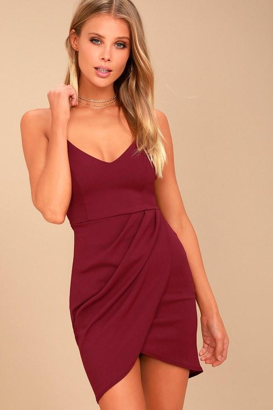 2ebb411aa8af Sexy Wine Red Dress - Bodycon Dress - Wrap Dress