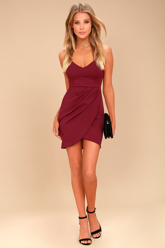 8fc7eaf65697 Sexy Wine Red Dress - Bodycon Dress - Wrap Dress