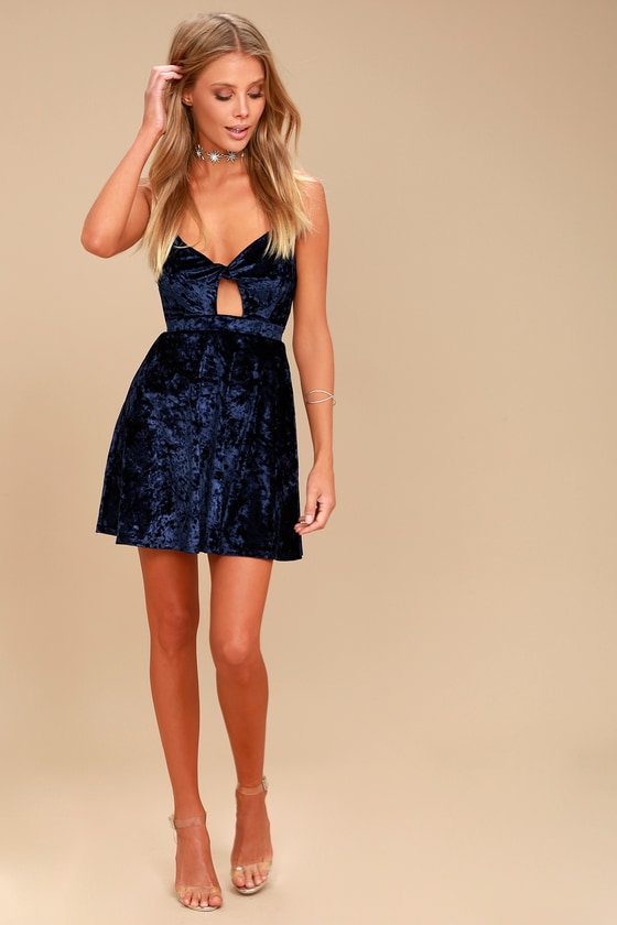 Cute Navy Velvet Dress - Velvet Skater Dress - Keyhole Dress e2d5a3d6f