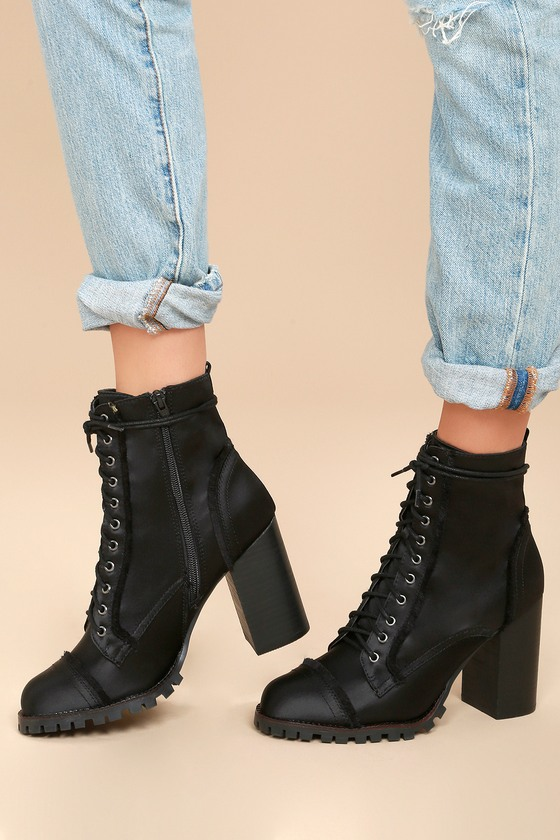 Aileen Black Lace-Up Platform Booties 5