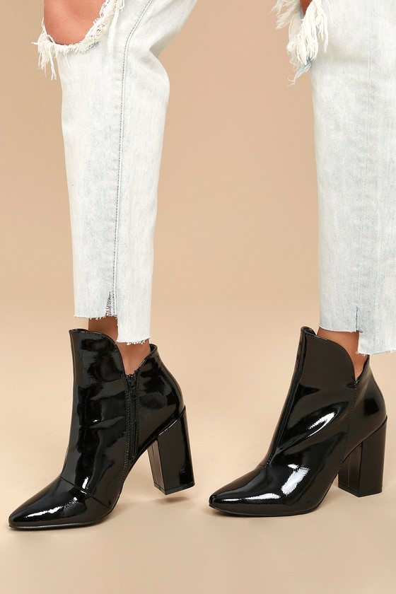Skyla Black Patent Pointed Toe Ankle Booties 5