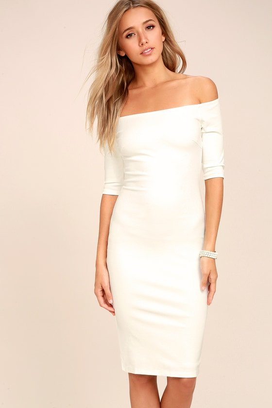 Girl Can't Help It Ivory Off-the-Shoulder Midi Dress 9