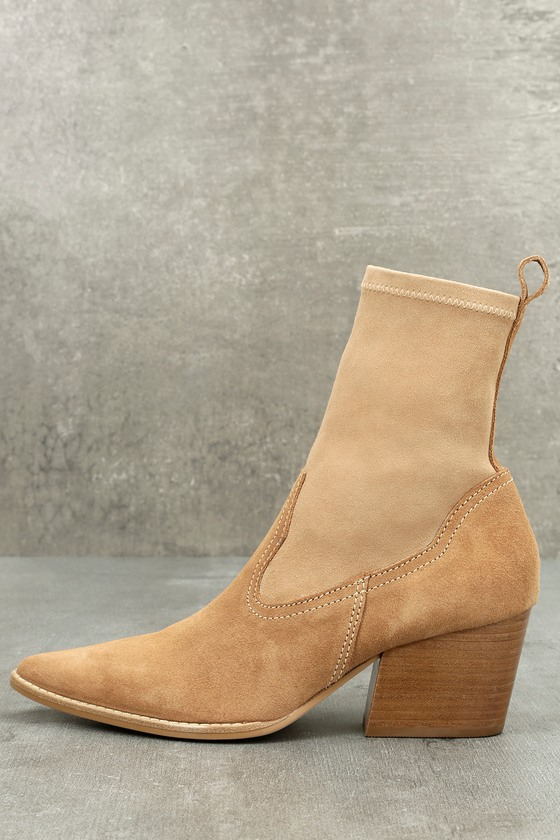 Flash Natural Suede Leather Pointed Mid-Calf Boots 1