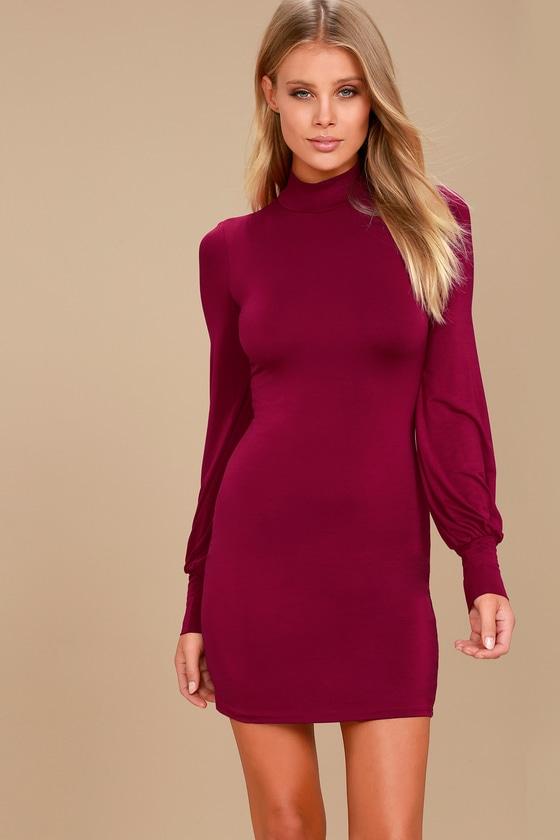 Midnight in Paris Wine Red Long Sleeve Dress 1