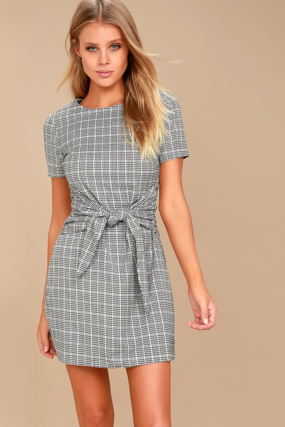 b858e22a694 Cute Black and White Dress - Gingham Dress - Knotted Dress