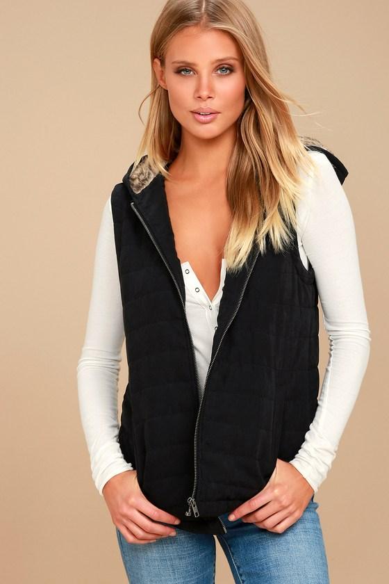 Meiker Black Hooded Puffer Vest 2