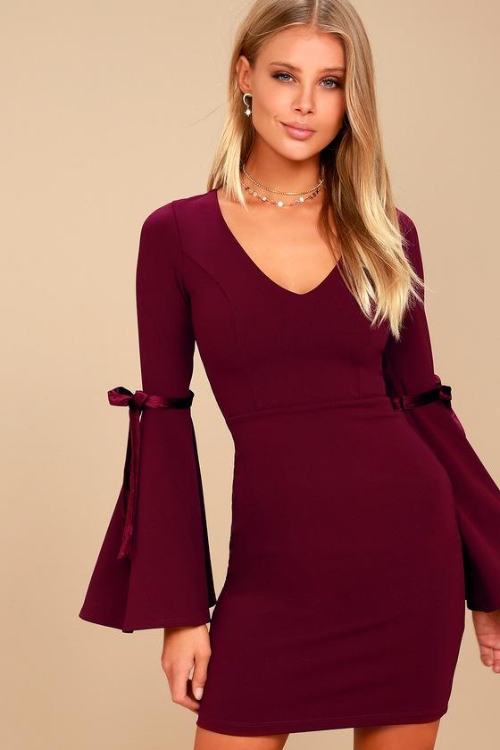 44467d6284 Chic Burgundy Dress - Bell Sleeve Dress - Bodycon Dress