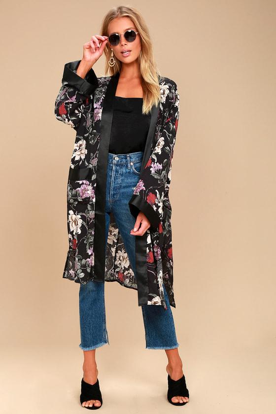 49b5cd783869d Sexy Black Floral Print Kimono - Kimono Top - Midi Kimono