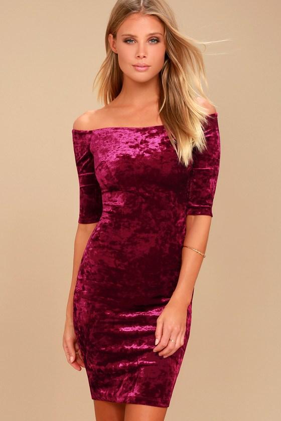 Wrapped Up In You Burgundy Velvet Off-the-Shoulder Dress 082c2d24cfc7