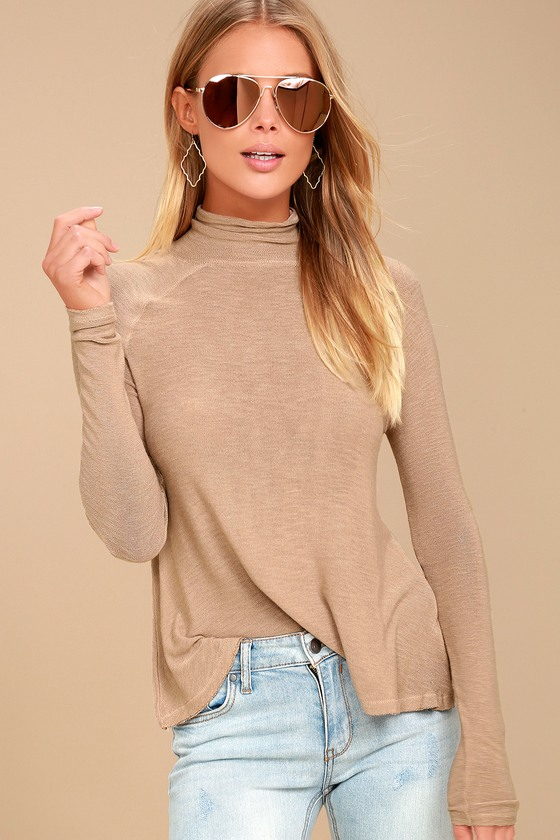 Weekend Snuggle Light Brown Mock Neck Sweater Top 1