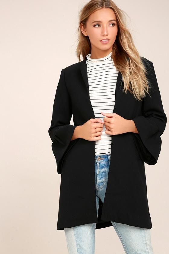 9c9012f9f72d Chic Black Coat - Knit Coat - Flounce Sleeve Coat