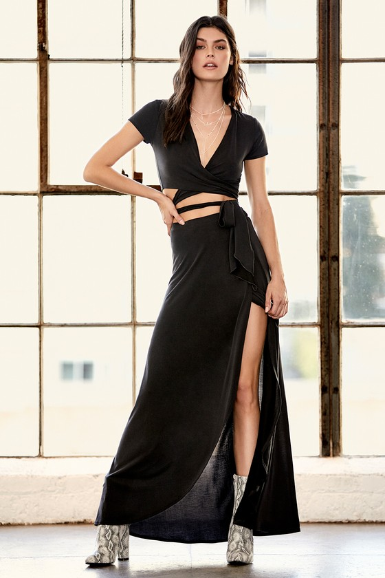 Back in Brooklyn Washed Black Two-Piece Maxi Dress 6