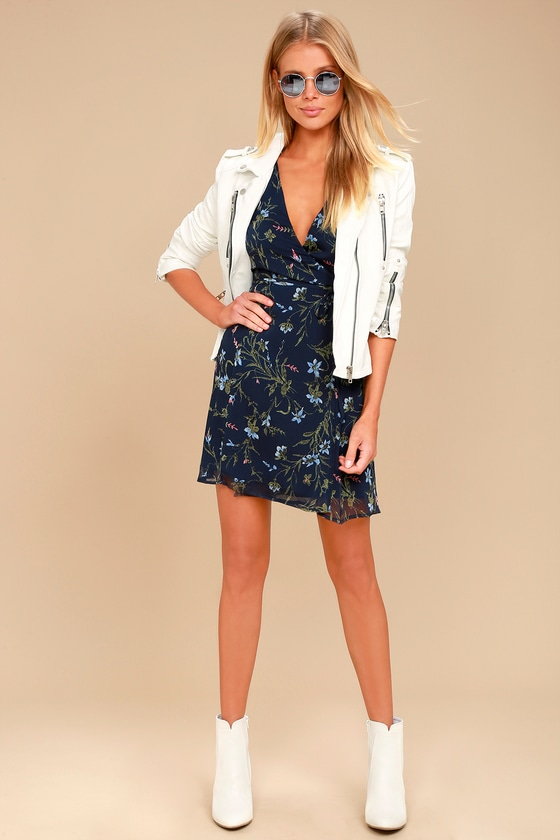 ca57deb1abbf Cute Navy Blue Floral Print Dress - Long Sleeve Wrap Dress