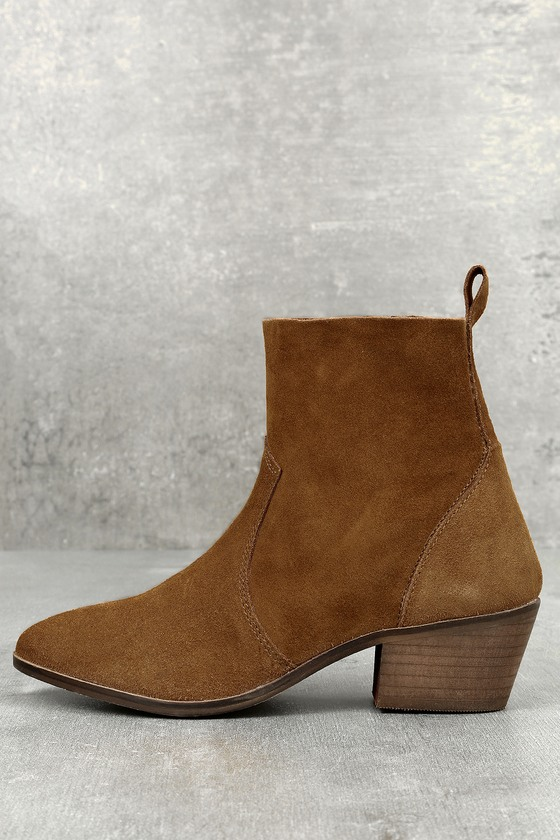 Iesha Cognac Brown Suede Leather Mid-Calf Boots 2