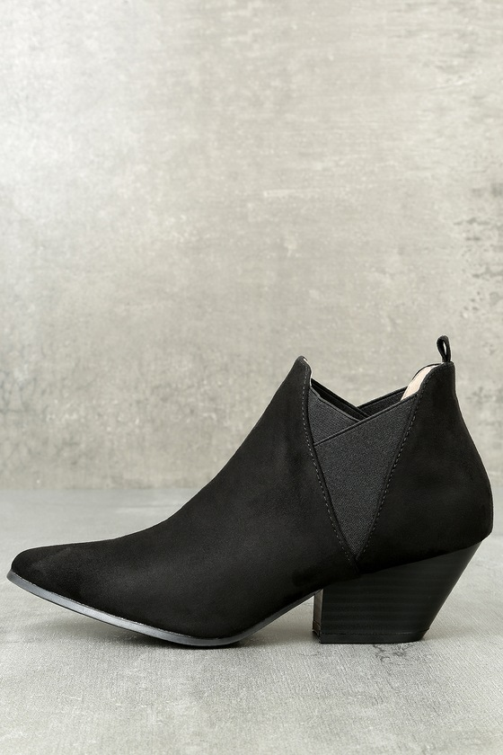 Layna Black Suede Ankle Booties 1
