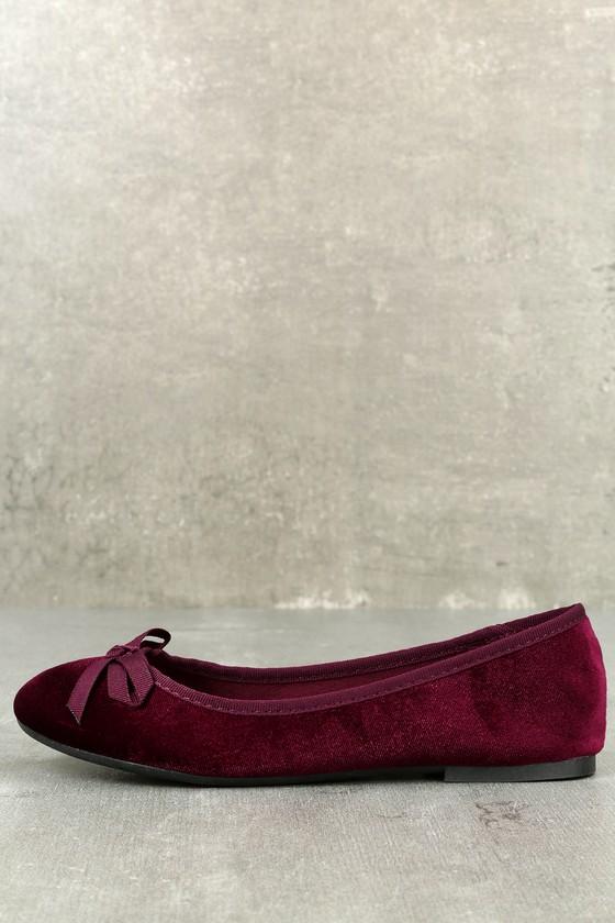 Anya Burgundy Velvet Flats 1
