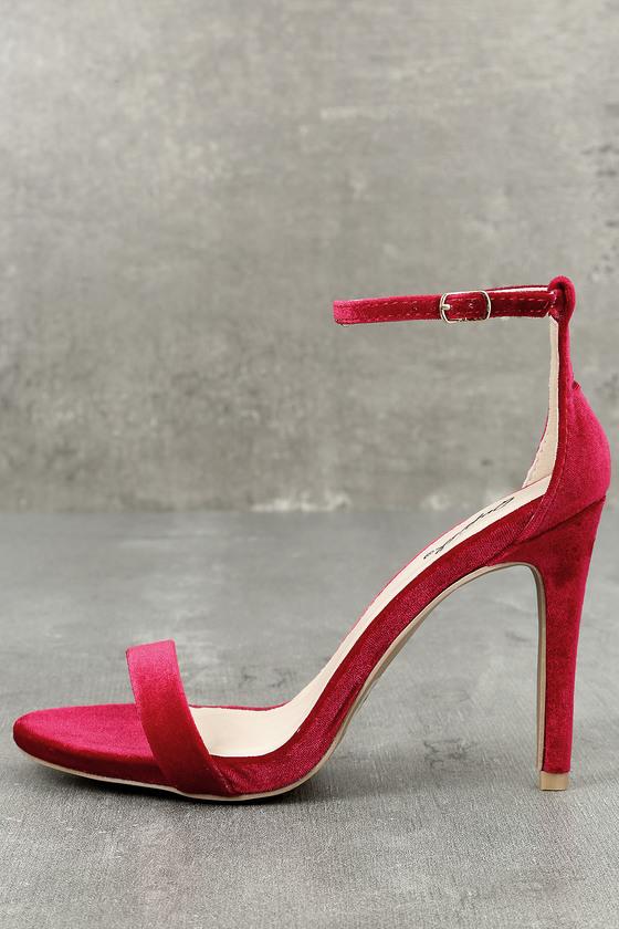 Lovely Dark Red Heels - Lace-Up Heels - Vegan Suede Heels - $33.00